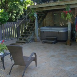 backyard landscaping - hot tub area