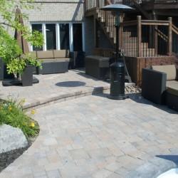 backyard interlock landscaping patio area