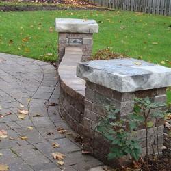 backyard landscaping - walkway with stone wall