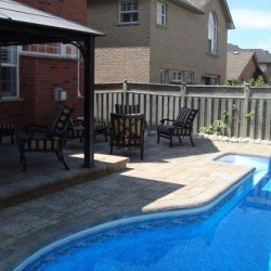 Inground pool with patio