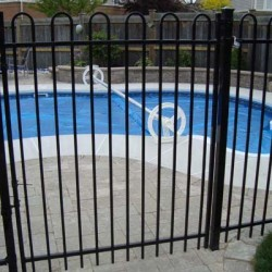 wrought iron fencing around pool area