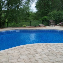 landscaping around and within pool deck area