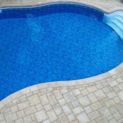 inground pool with walk in steps