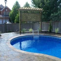 Privacy screens as part of landscaping around pool area