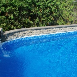 garden wall around inground pool